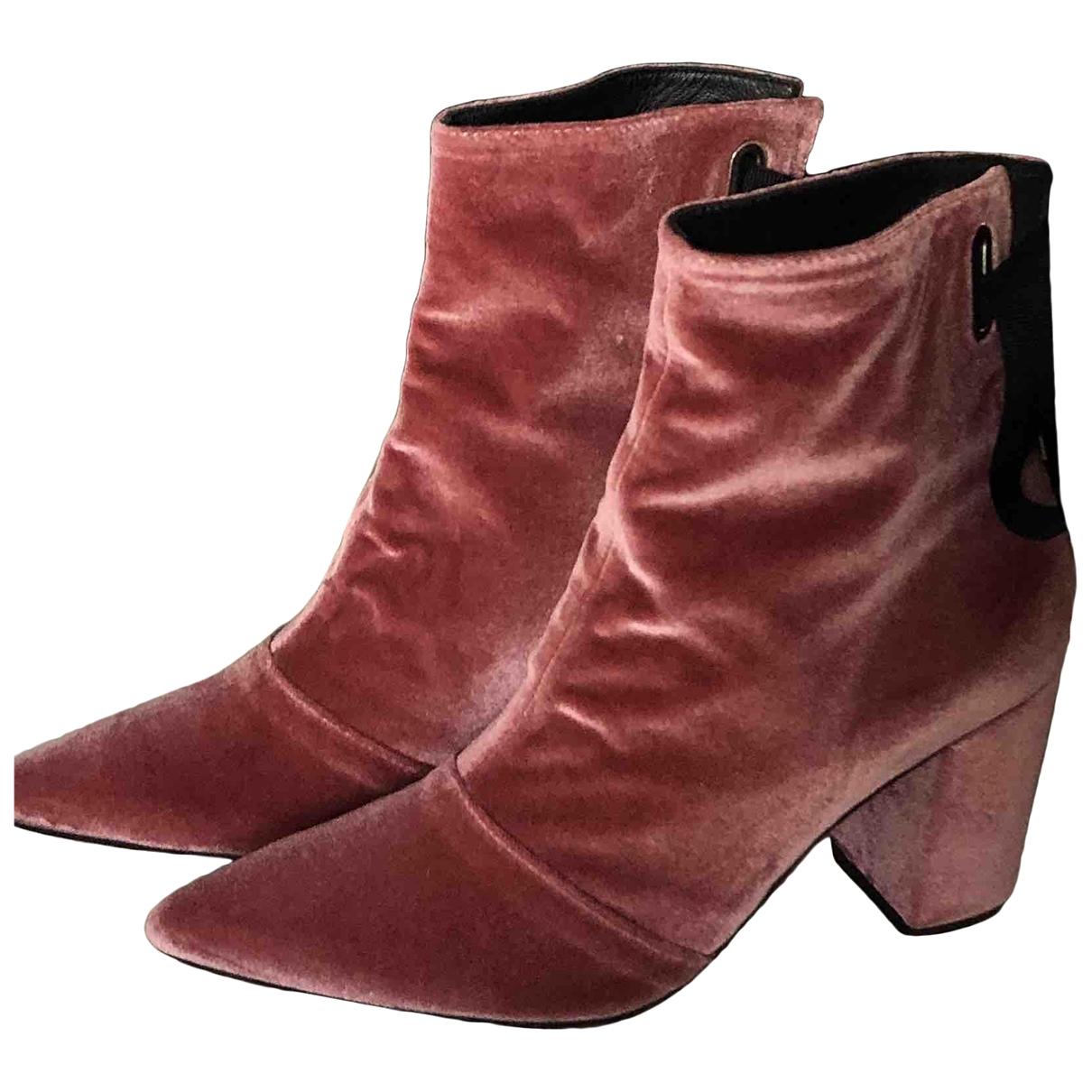 Robert Clergerie - Boots   pour femme en velours - rose