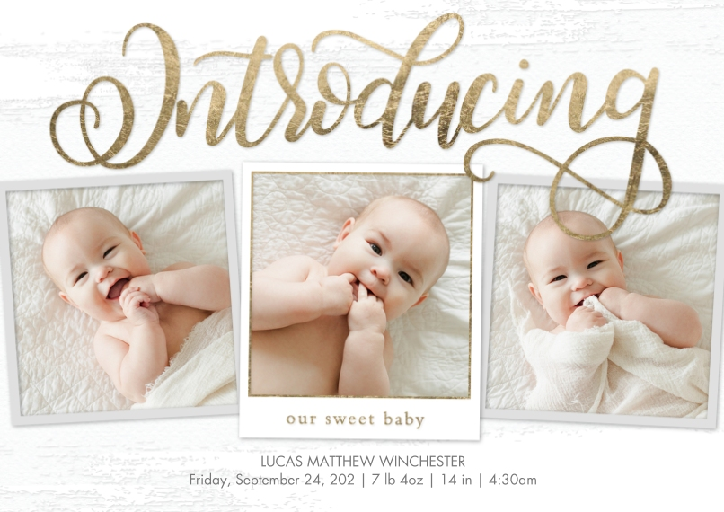 Baby Boy Announcements Flat Matte Photo Paper Cards with Envelopes, 5x7, Card & Stationery -Baby Introducing Script Gold by Tumbalina
