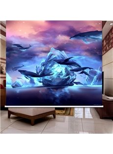 3D Printed Whale and Iceberg Dark Purple Dust-Proof Roller Shades