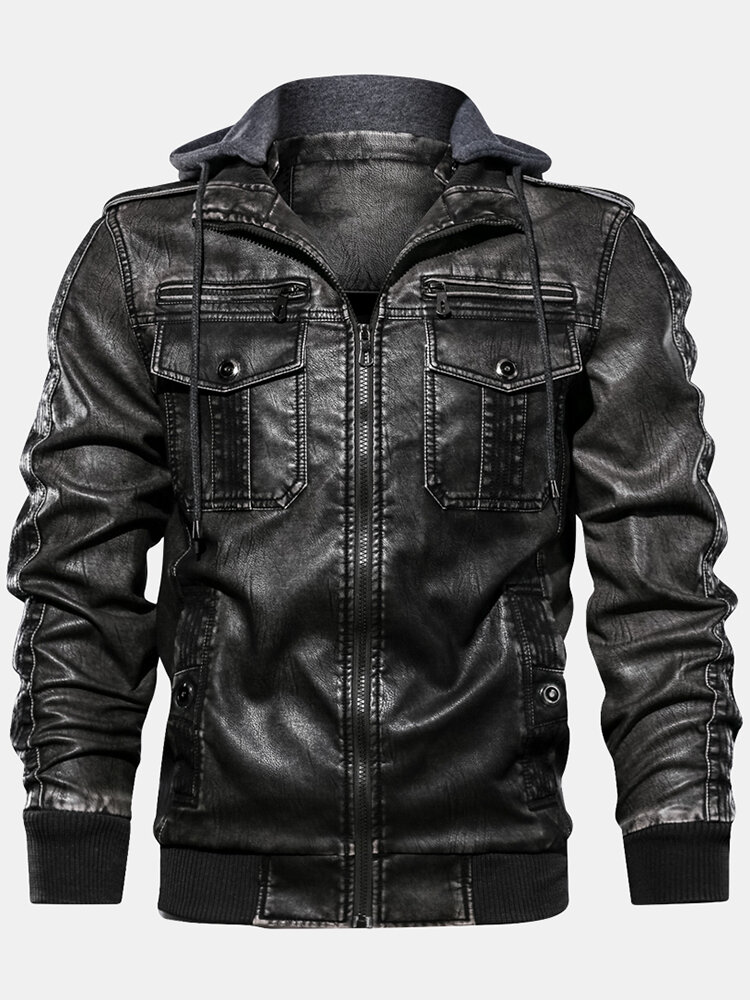 Mens PU Leather Multi-Pocket Drawstring Hooded Zipper Up Jacket