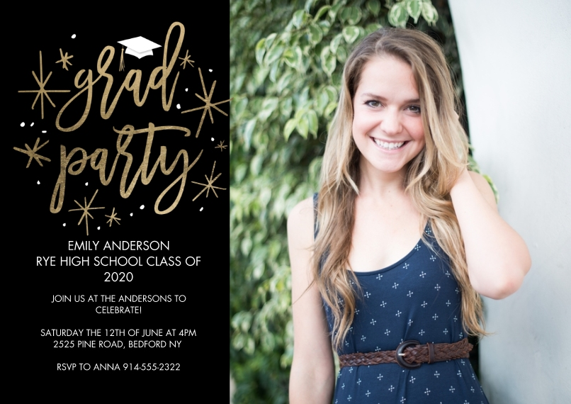 2020 Graduation Invitations 5x7 Cards, Premium Cardstock 120lb with Elegant Corners, Card & Stationery -Grad Party Simple Stars by Tumbalina