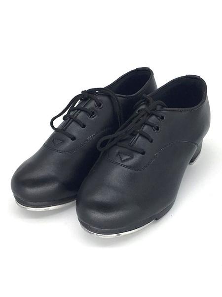 Milanoo Zapatos de baile de puntera redonda de PU para claque comodos con cordones de tacon gordo