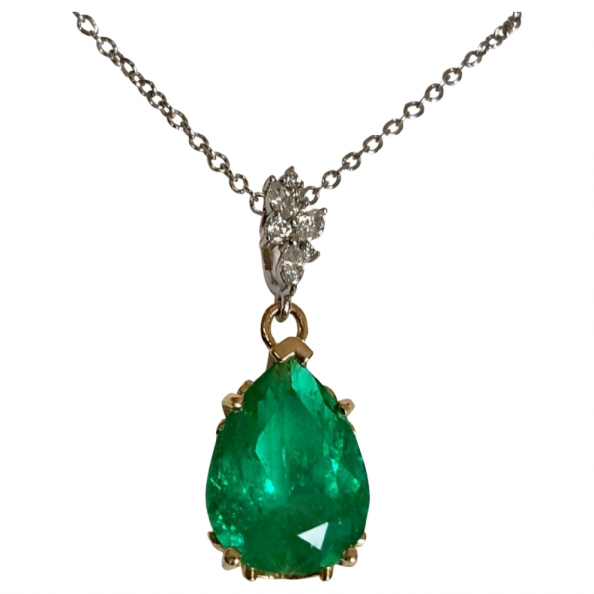 Non Signé / Unsigned Emeraude Green White gold pendant for Women \N