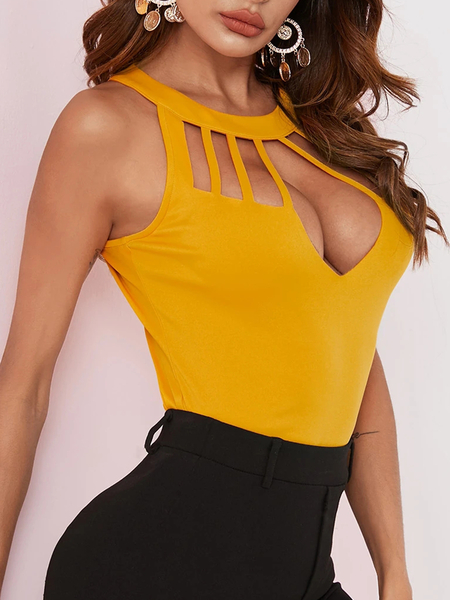 Yoins Cut Out Halter Sleeveless Cami