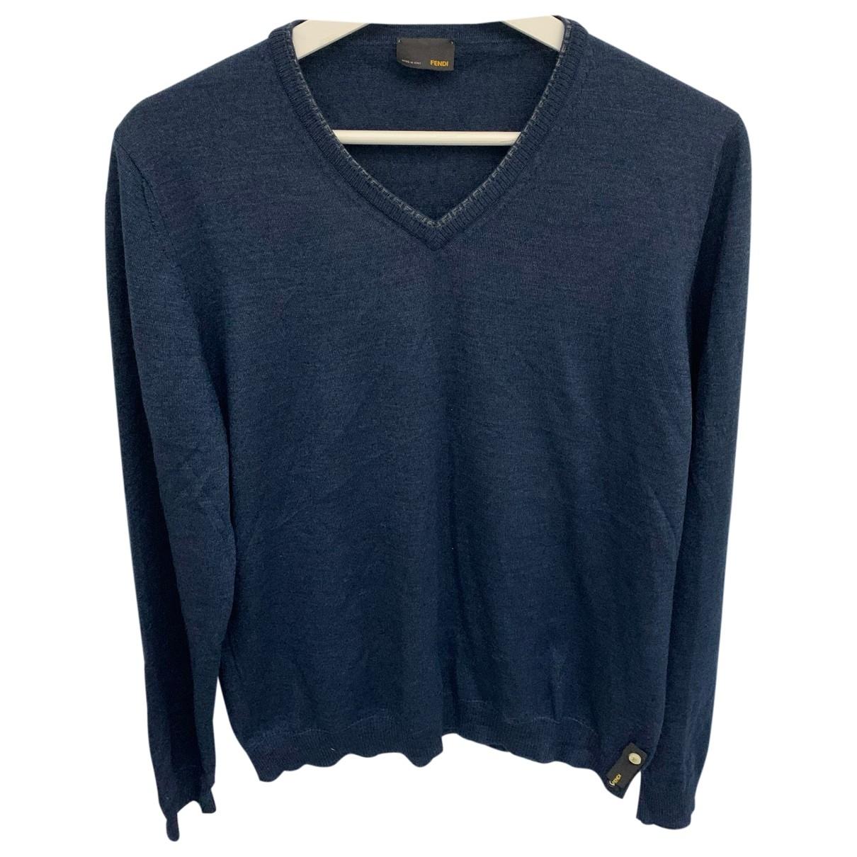 Fendi \N Pullover.Westen.Sweatshirts  in  Blau Wolle