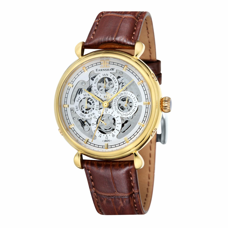 Thomas Earnshaw Mens Grand Calendar ES-8043-03 Silver Leather Hand Wind Fashion Watch