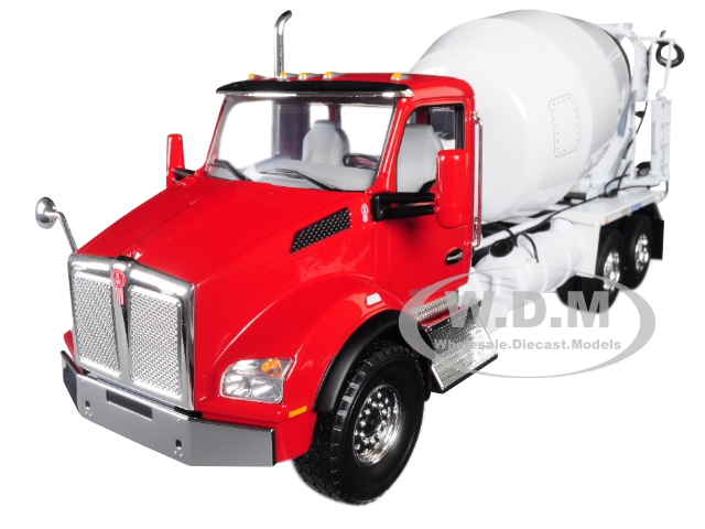 Kenworth T880 with McNeilus Standard Mixer Red Cab/ White Body 1/34 Diecast Model by First Gear