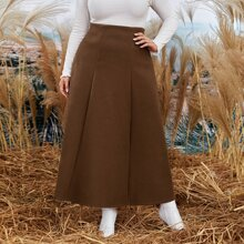 Plus Plicated Solid A-line Skirt