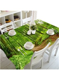 3D Thick Forest and Winding Path Printed Thick Polyester Table Cover Cloth