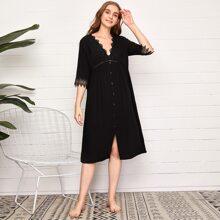 V-neck Button Front Lace Trim Night Dress