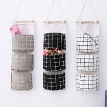 1pc Plaid Pattern Hanging Storage Bag