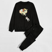 Men Astronaut Print Sweatshirt & Sweatpants Set