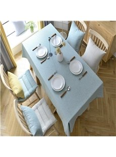 Concise and Modern High Quality Cotton Solid Light Blue Dining Table Cloth
