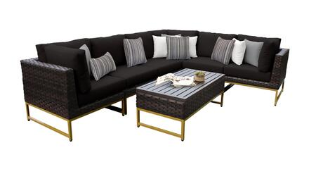 Barcelona BARCELONA-07b-GLD-BLACK 7-Piece Patio Set 07b with 3 Corner Chairs  3 Armless Chairs and 1 Coffee Table - Beige and Black Covers with Gold
