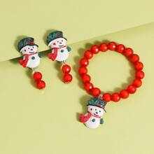 3pcs Toddler Girls Snowman Beaded Jewelry Set