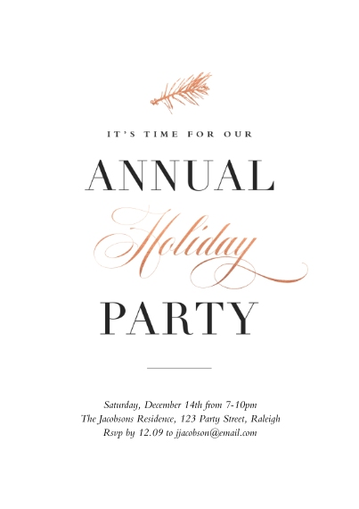Christmas & Holiday Party Invitations 5x7 Cards, Premium Cardstock 120lb, Card & Stationery -A Warm Holiday Party Annual