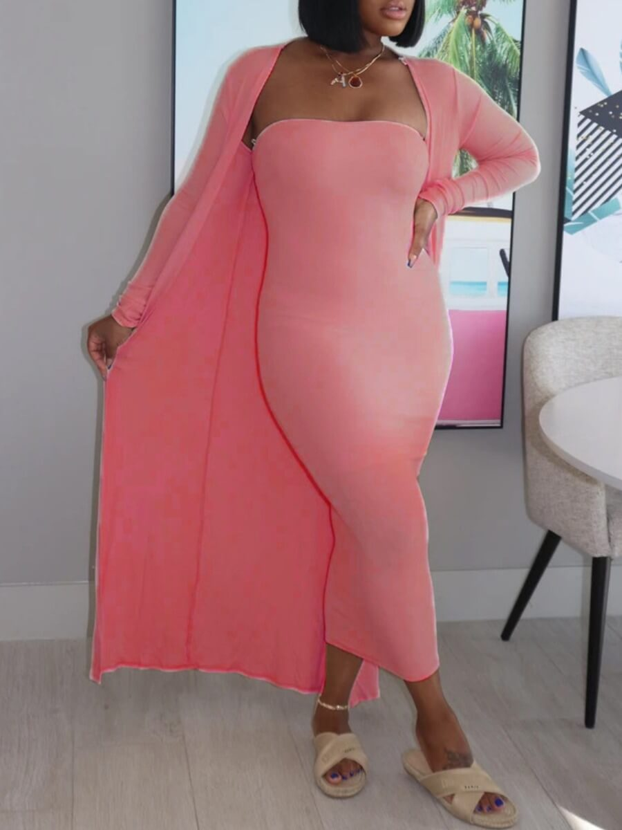 LW Lovely Casual Bateau Neck Basic Skinny Pink Two Piece Skirt Set
