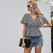 Bluse mit V-Ausschnitt, Streifen Muster und Schosschen