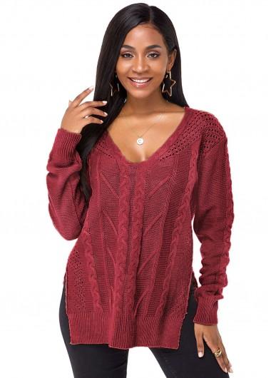 Trendy Side Slit Long Sleeve V Neck Sweater - M