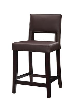 14053VESP-01-KD-U Vega Collection Counter Height Stool with Solid Wood Frame and Vinyl Upholstery in Brown