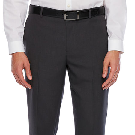 Van Heusen Traveler Slim Fit Mens Flat Front Pant, 30 32, Gray