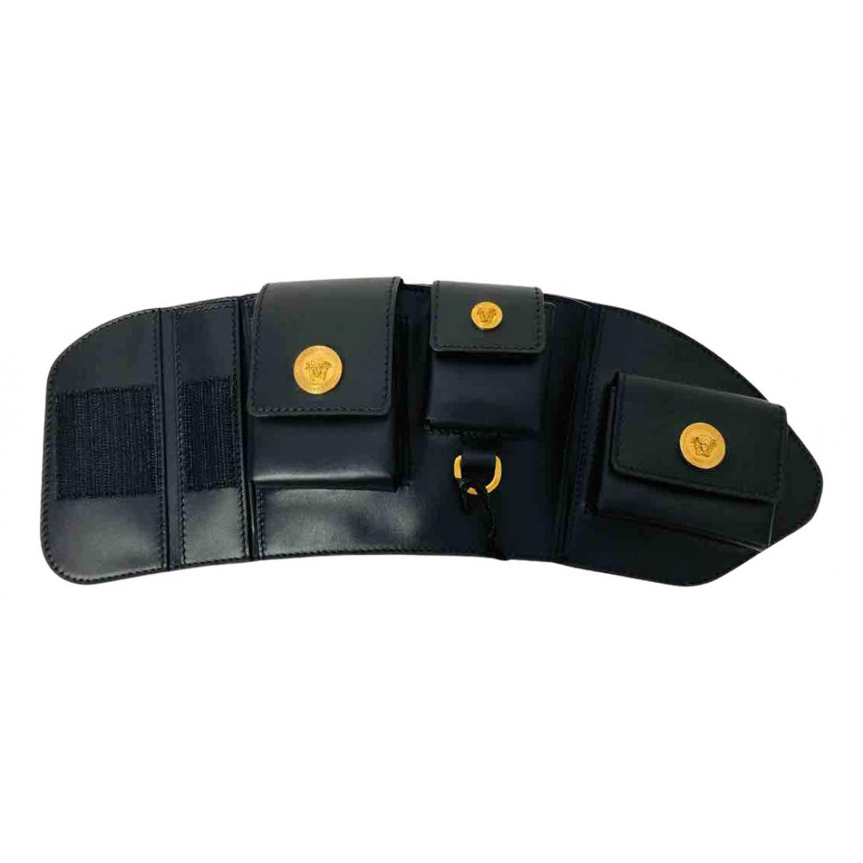 Versace - Petite maroquinerie   pour homme en cuir - noir
