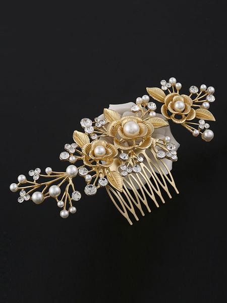 Milanoo Gold Comb Wedding Headpieces Rhinestones Beaded Bridal Hair Accessories