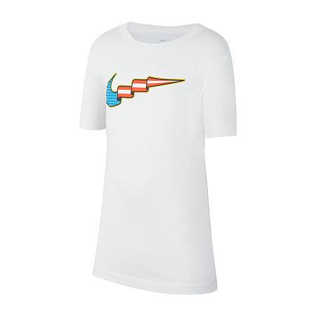 Nike Big Boys Crew Neck Short Sleeve Graphic T-Shirt, X-large , White