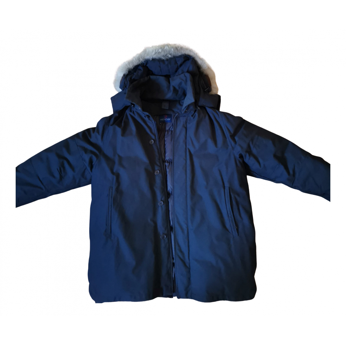 Moncler Fur Hood Blue Cotton coat  for Men 52 IT