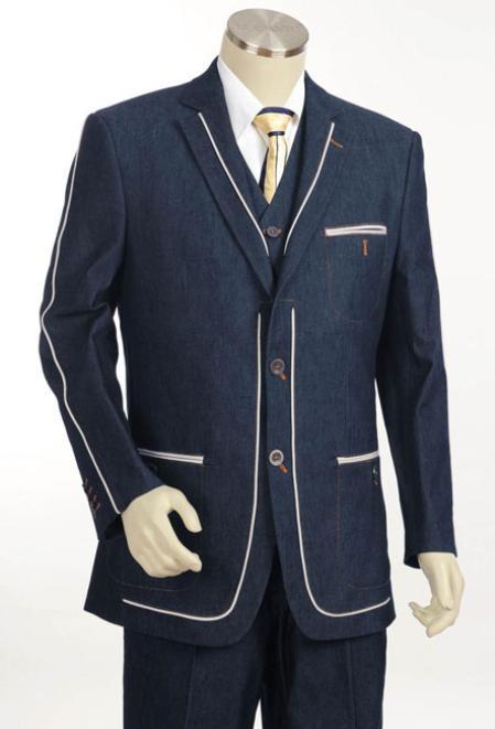 Mens 2Button Denim Cotton Fabric Two Tone Blazer/Suit/Tuxedo Navy