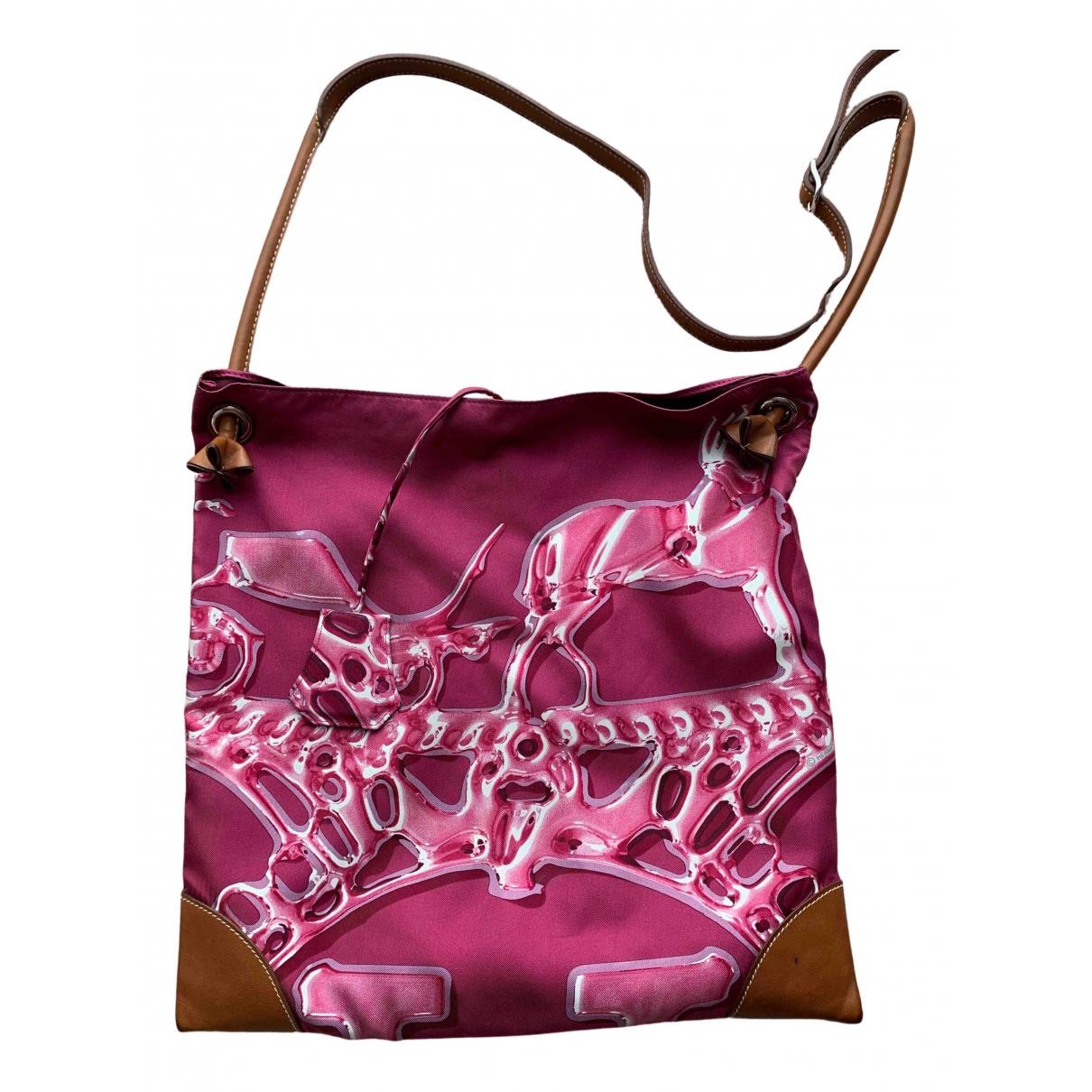 Hermes - Sac a main Silk City pour femme en soie - rose