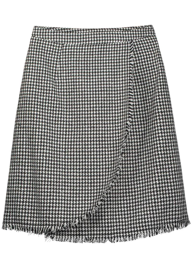 Knee-Length Houndstooth Tassel Patchwork Women's Skirt