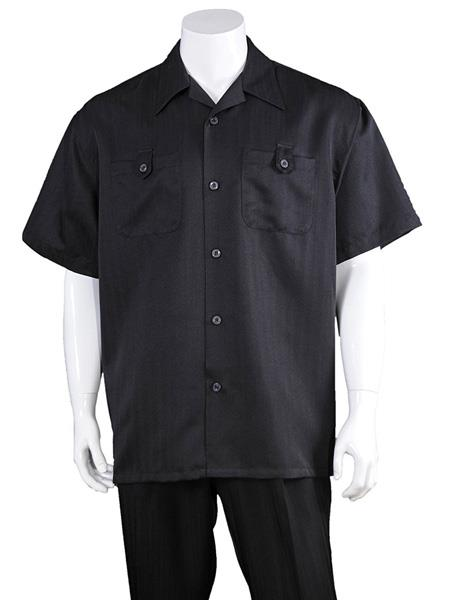 Mens Solid Black Casual Short Sleeve 100% Polyester Walking Suits