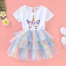 Toddler Girls Cartoon Graphic Tiered Layer Mesh Hem Dress