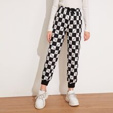 Girls Letter Graphic Checked Sweatpants