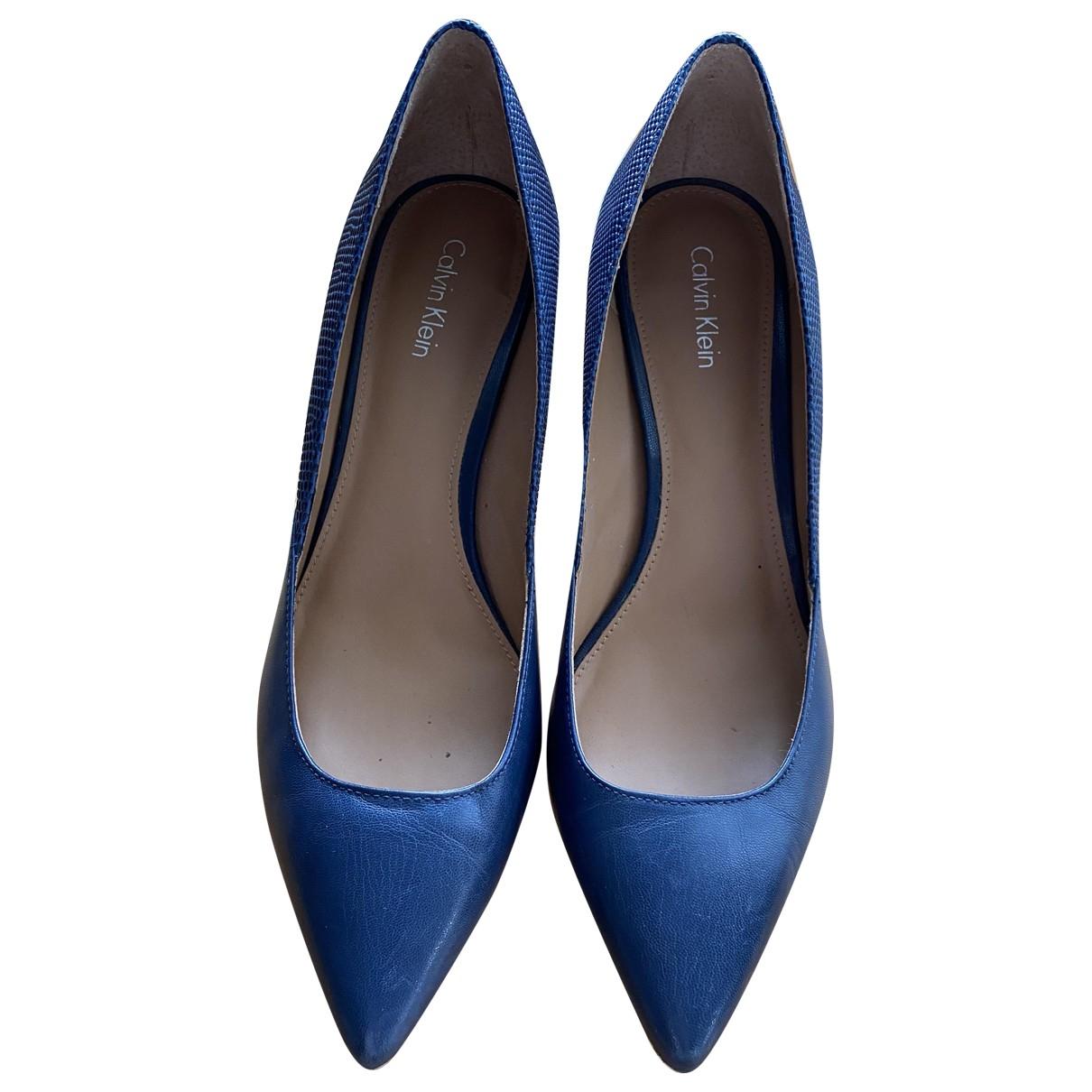 Calvin Klein N Blue Leather Heels for Women 8 US