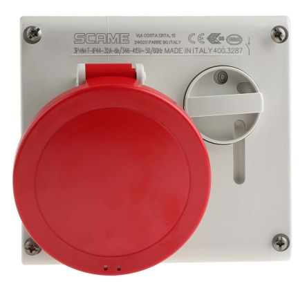 RS PRO Switchable IP44 Industrial Interlock Socket 3P+N+E, Earthing Position 6h, 32A, 400 V, Red