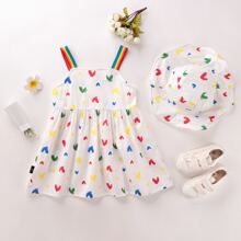 Toddler Girls Heart And Rainbow Stripe Cami Dress & Hat