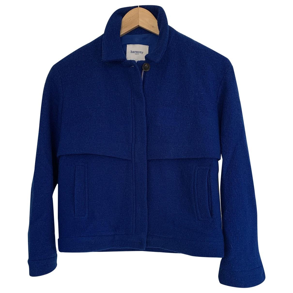 Harmony \N Lederjacke in  Blau Wolle