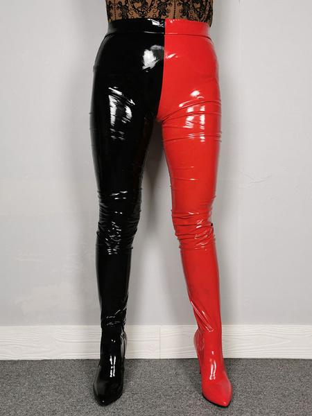 Milanoo Botas sexys para mujer Botas puntiagudas con punta de color block Club Rave Botas negras de tacon alto hasta el muslo
