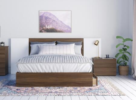 402497 Arizona 4 Piece Queen Size Bedroom Set with Storage Platform Bed + Headboard + Nightstand + Panel (2 per Box)  in Walnut Laminate And White