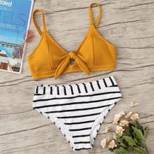 Striped Textured Tie Front Bikini Swimsuit