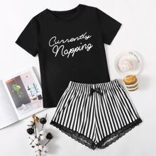 Schlafanzug Set mit Streifen, Buchstaben Grafik, Spitze und Schleife vorn