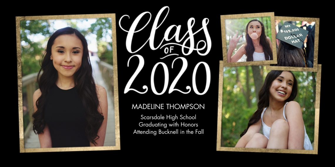 2020 Graduation Announcements Flat Matte Photo Paper Cards with Envelopes, 4x8, Card & Stationery -2020 Gold Frames by Tumbalina