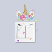 Pegatina de interruptor de luz con estampado de unicornio