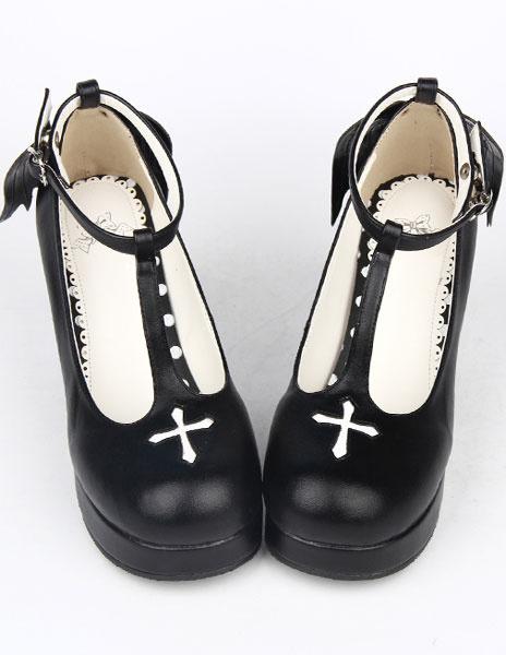 Milanoo White PU Prism Heel Lolita Shoes for Girls