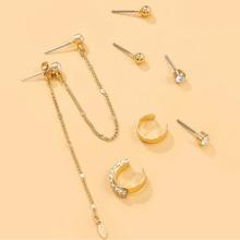 4 Paare Ohrringe mit Strass Dekor
