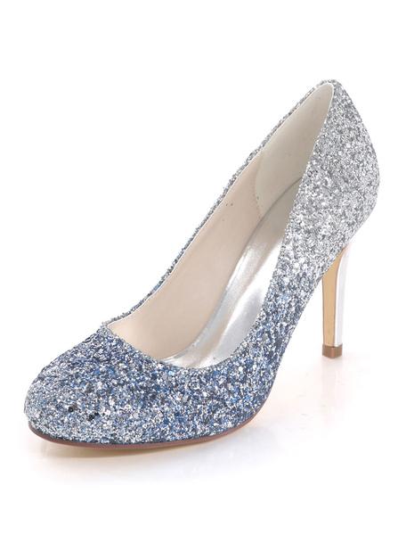 Milanoo Zapatos de novia Zapatos de tacon alto de tacon de stiletto de puntera redonda de tela brillante de lujo