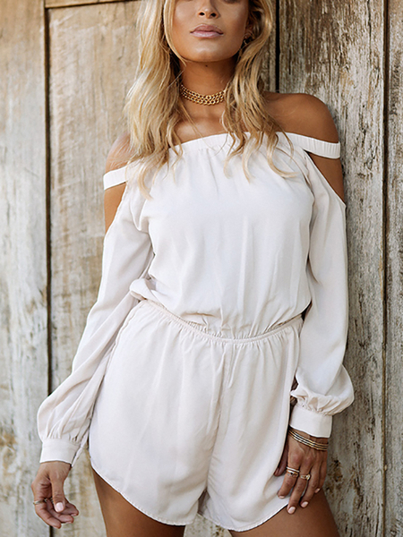 Yoins White Off Shoulder High Waisted Lantern Sleeves Playsuit