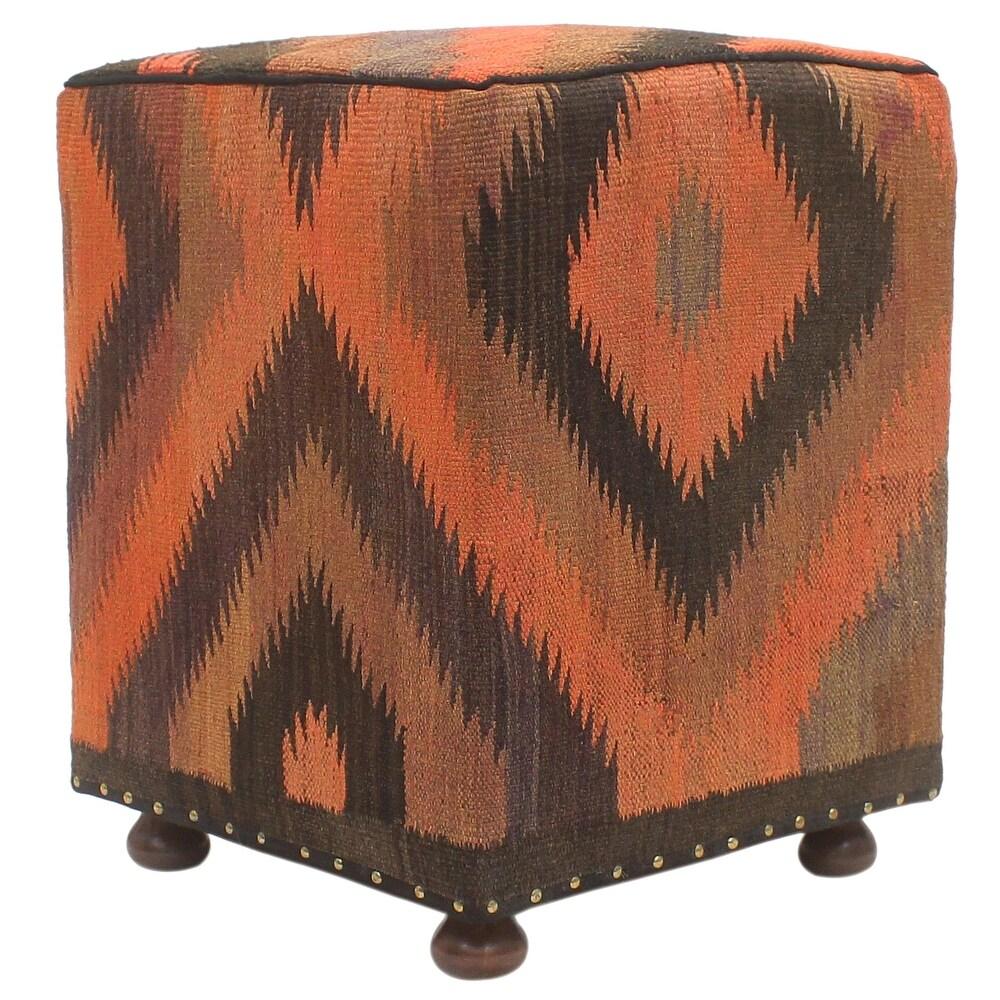 Vintage Mckinley Handmade Kilim Upholstered Ottoman (15